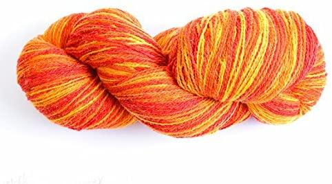 Kauni Wool Yarn Color, Self-Striping Yarn, Flame, Red Orange Yellow, 2ply, 100% Wool, 8/2