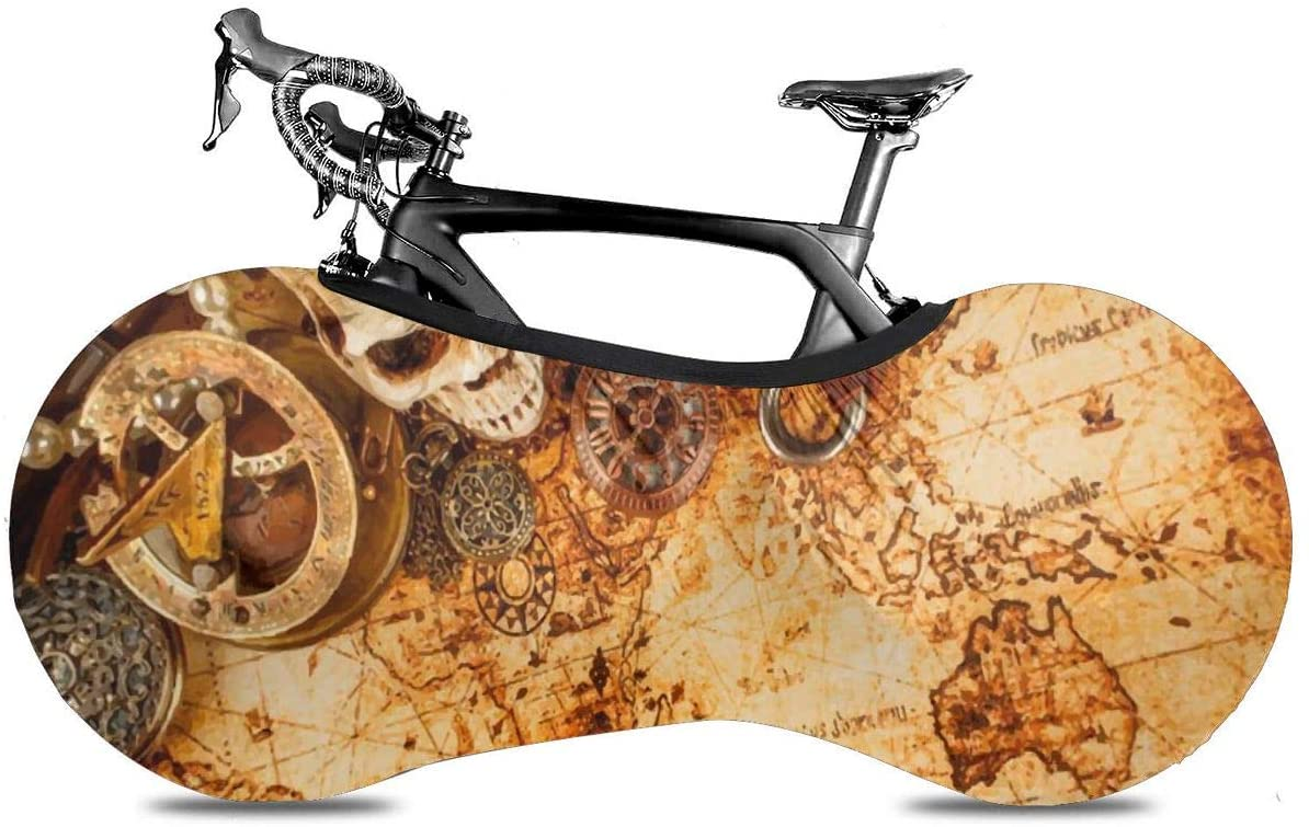 THONFIRE Bicycle Wheel Cover Pirate Treasure Map Anti-Dust Storage Bag Indoor Rustproof for Mountain Road Electric Tricycle