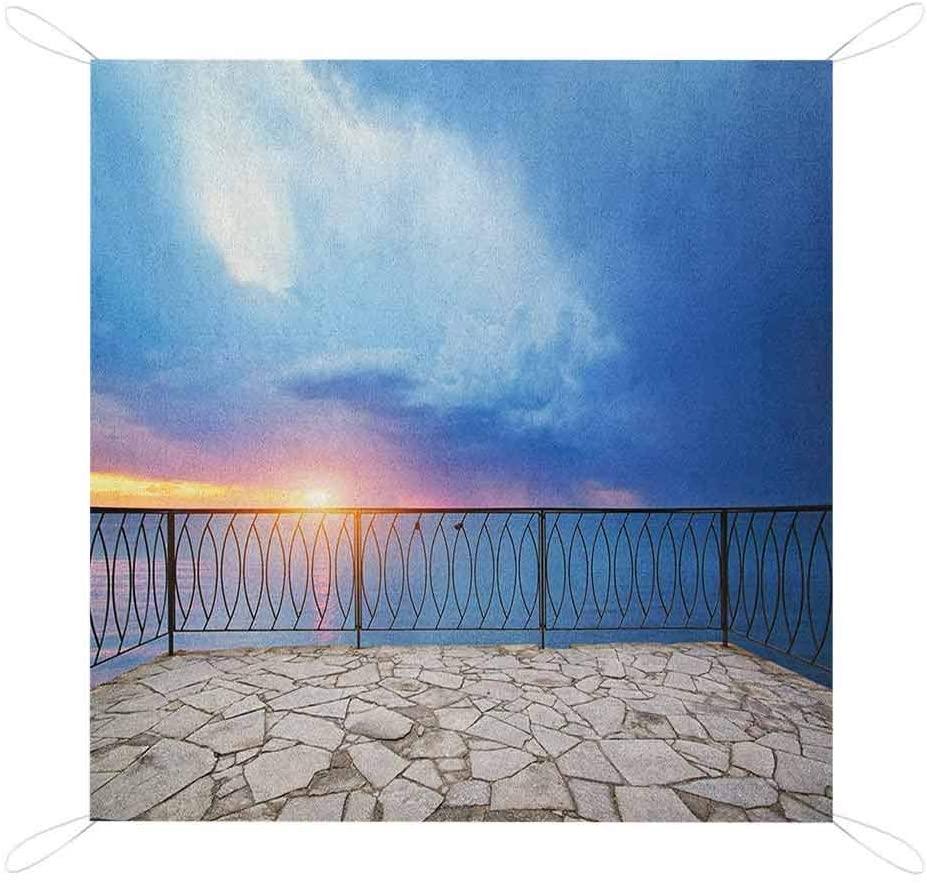 Nomorer Modern Beach Blanket Sandproof, Balcony View Landscape of Ocean Sea as Sunset or Dawn Photograph Water-Resistant Handy Mat, 67