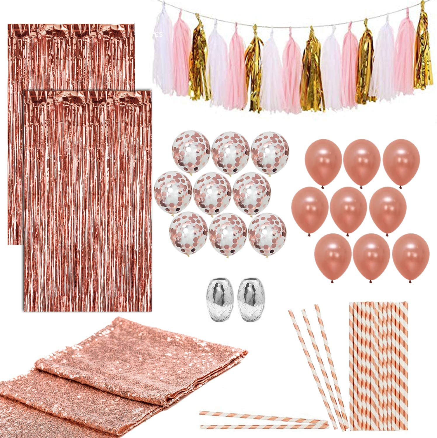 Artunique 63pc Rose Gold Party Decorations Kit | Huge Rose Gold Latex and Confetti Balloons (18) | Sequin Table Runner (1) | Fringe Curtain (2) | Ribbon (2) | Paper Straws (25) | Tassle Garland (15)
