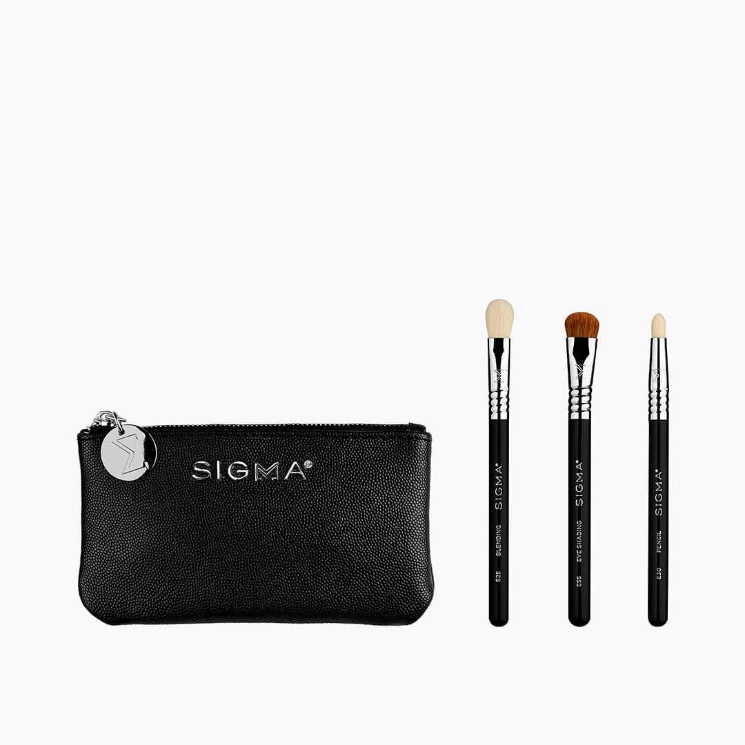 Sigma Beauty Glam 'N Go Mini Eye Brush Set, 3 Brushes and Beauty Bag