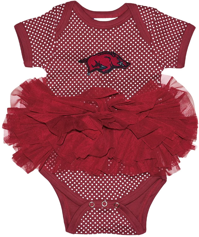 Two Feet Ahead Arkansas Razorbacks Polka Dot Newborn Infant Tutu Creeper Bodysuit
