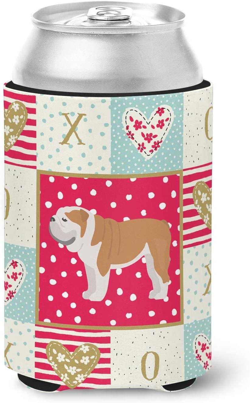 Caroline's Treasures CK5830CC English Bulldog #1 Love Can or Bottle Hugger cold-beverage-koozies, Multicolor