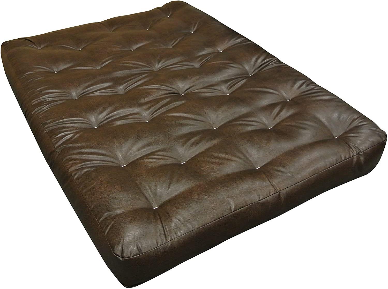 Gold Bond Wool Wrap Cotton Futon Mattress, Leather, 8