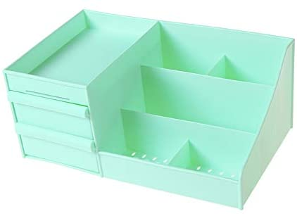 BXSBH-Drawer Type Cosmetics Collection Box Tabletop Dorm Skin Care Box Household Simple Bedside Stacks Green