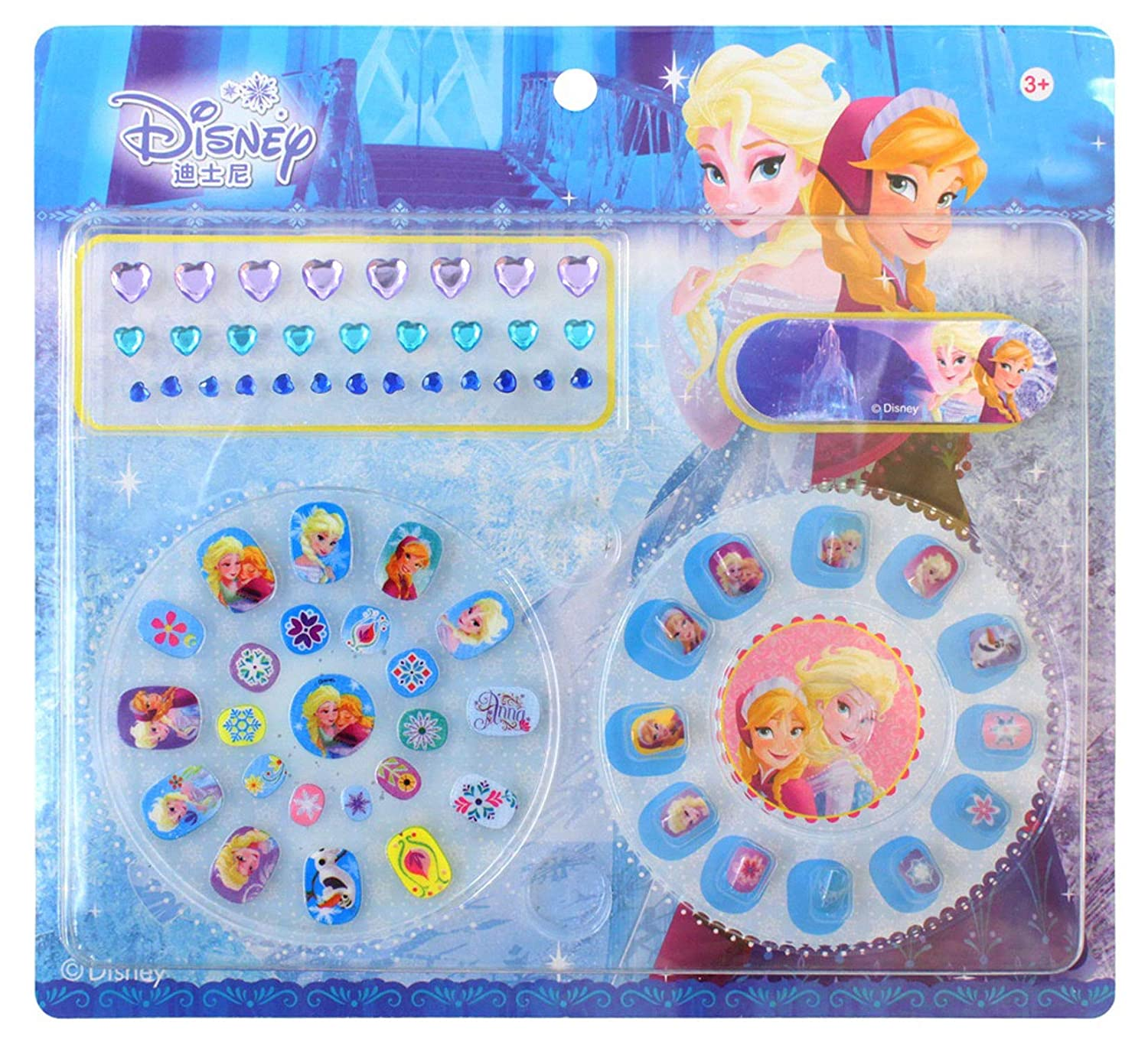 GlowKids Elsa and Anna Press on Nails - Fake Nails for Kids | Rhinestone Nail Stickers | Kids Nail File Included | 65 Piece kids manicure set