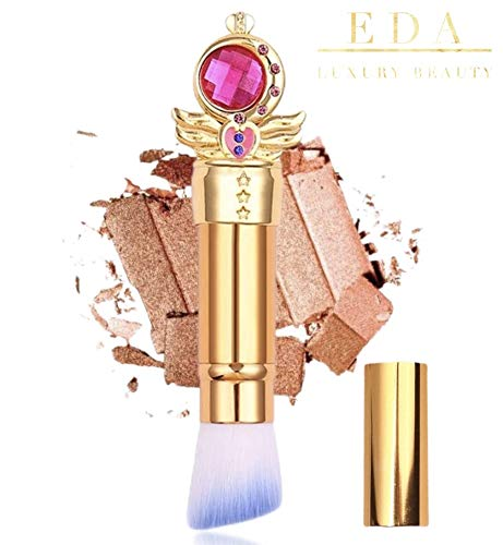 EDA LUXURY BEAUTY GOLD PINK BLUE SPECIAL RETRACTABLE DESIGN KABUKI ANGLED Makeup Brush With Cover Blush Bronzer Contour Highlighter Foundation Perfect Flawless All Over Full Face Cruelty Free Vegan