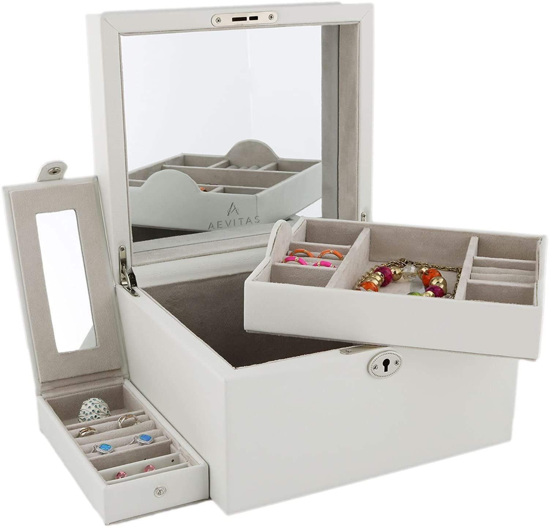 Aevitas Large Ivory Bonded Leather Jewelry Box with Traveler