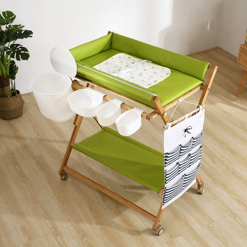 JN Baby Changing Table Wooden Baby Diaper Changing Table Folding Care Station with Casters, Storage and Cushion, Nursery Organizer for Small Baby Crib (Color : Green)