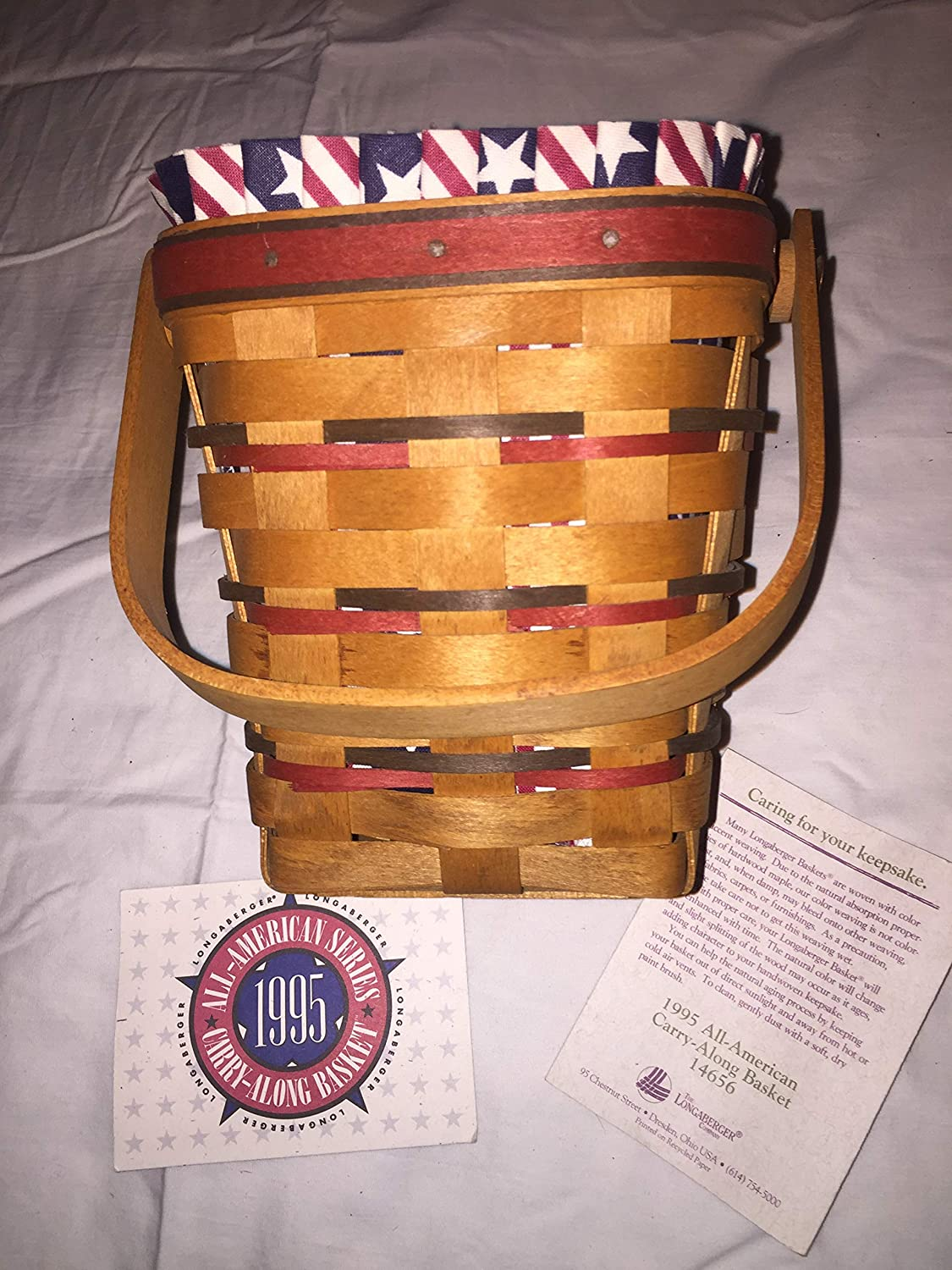 Longaberger All-American Carry Along Basket with Protector, Liner, and Product Cards
