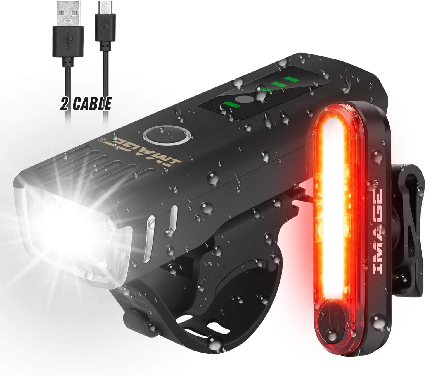 Bike Light Set,USB Re-Chargeable Bicycle Light Set with Super Bright Headlights and Free Rear Lights Waterproof LED Bicycle Light Taillight Safety Lights for Cycling Camping(2 USB cables Included)