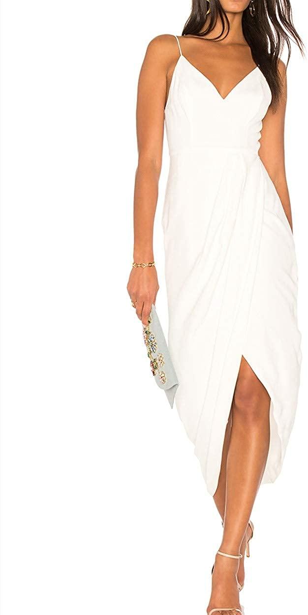 CMZ2005 Womens Deep V Cross Slit Long Party Dress Elegant Spaghetti Straps Maxi Dress 71730