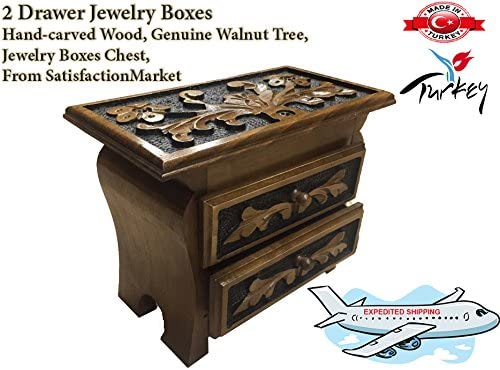 Hand-Carved 2 Drawer Jewelry boxes, chest, wood, Genuine Walnut tree