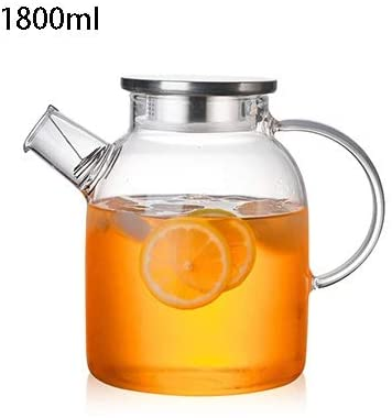 1000ml/1800ml Glass Teapots Heat Resistant Kettle Cold Water Jug with Stainless Steel Lid Kung Fu Tea Set Clear Juice Container Multifunction (Color : 1800ml)