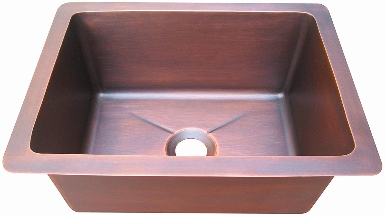 SINDA Hand Hammered 16 Gauge Soild Copper 0-Hole Bar Prep Sink with Basket Strainer Single Bowl, 16