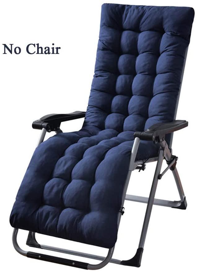 TCpick Mat High Back Seat Cushion,Patio Sun Lounger Cushion Soft Thick Chair Cushion Not-Slip Ties Straps Chair Pad Mat Washable Cotton Garden Seat Mattress Blue 155x48cm