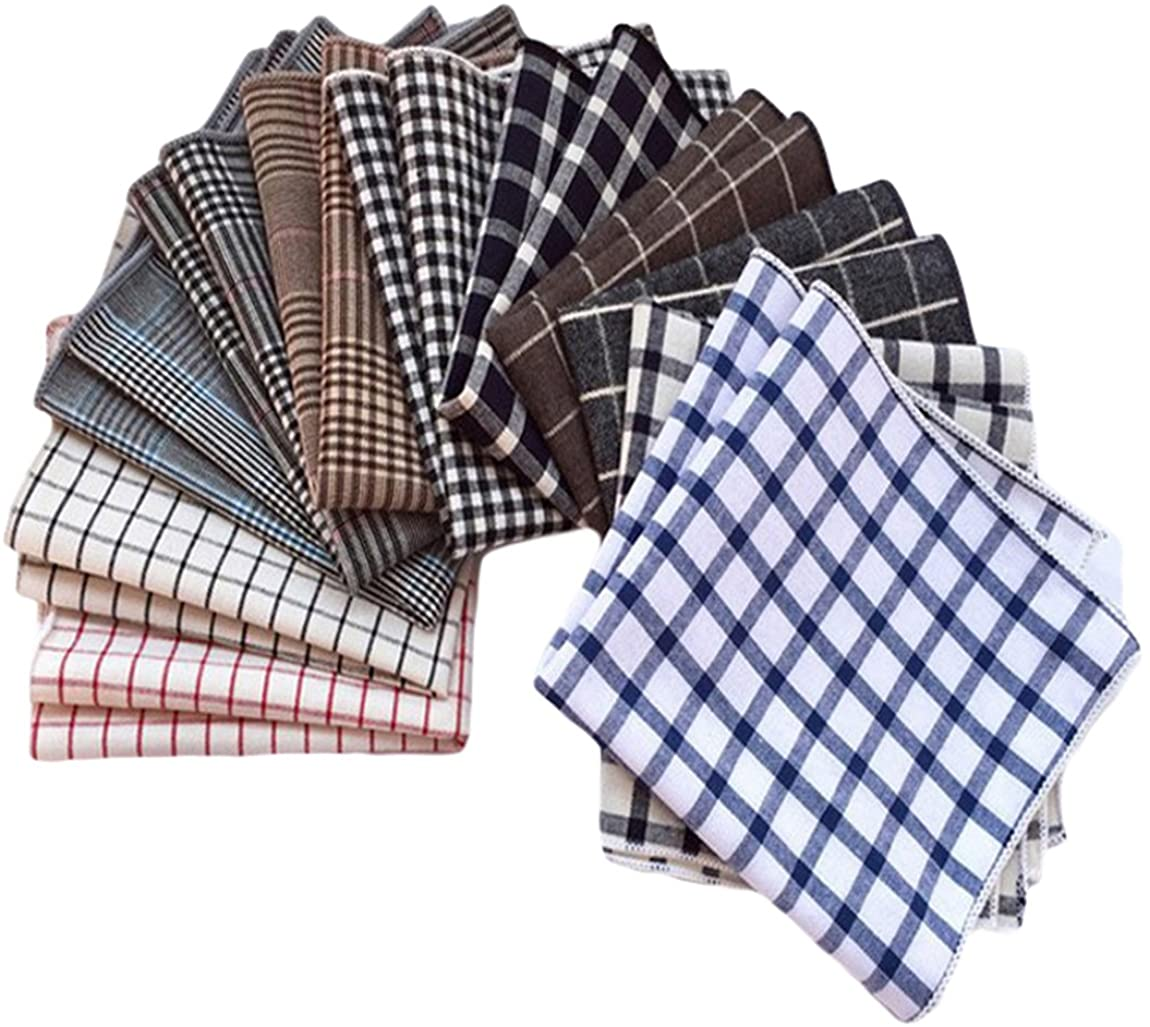 MENDENG Mens 11 Pack Vintage Plaid Check Wedding Party Handkerchief Hankies