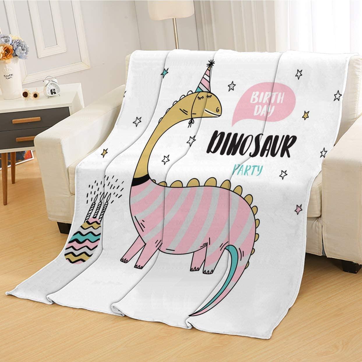 RLDSESS Birthday Soft Baby Blanket, All Season Blanket,Birthday Cute Cartoon Dinosaur,Soft Weighted Blanket,Baby Size: 31Wx47L inch