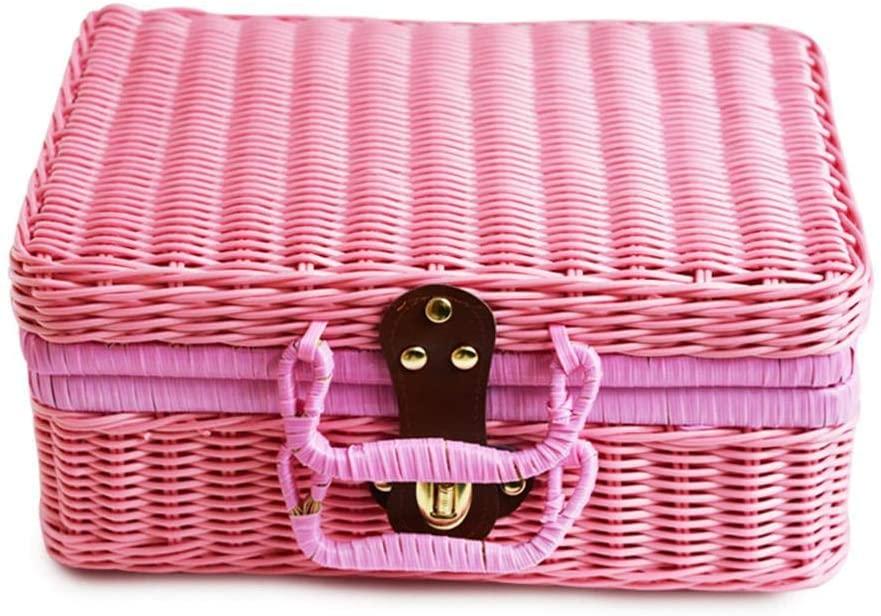 triumth 29x22x14cm Classic Wicker Hamper,Wicker Suitcase,Wicker Picnic Basket Rattan Handmad Storage Box,Vintage Basket ravel Suitcase for Outdoor,Camping