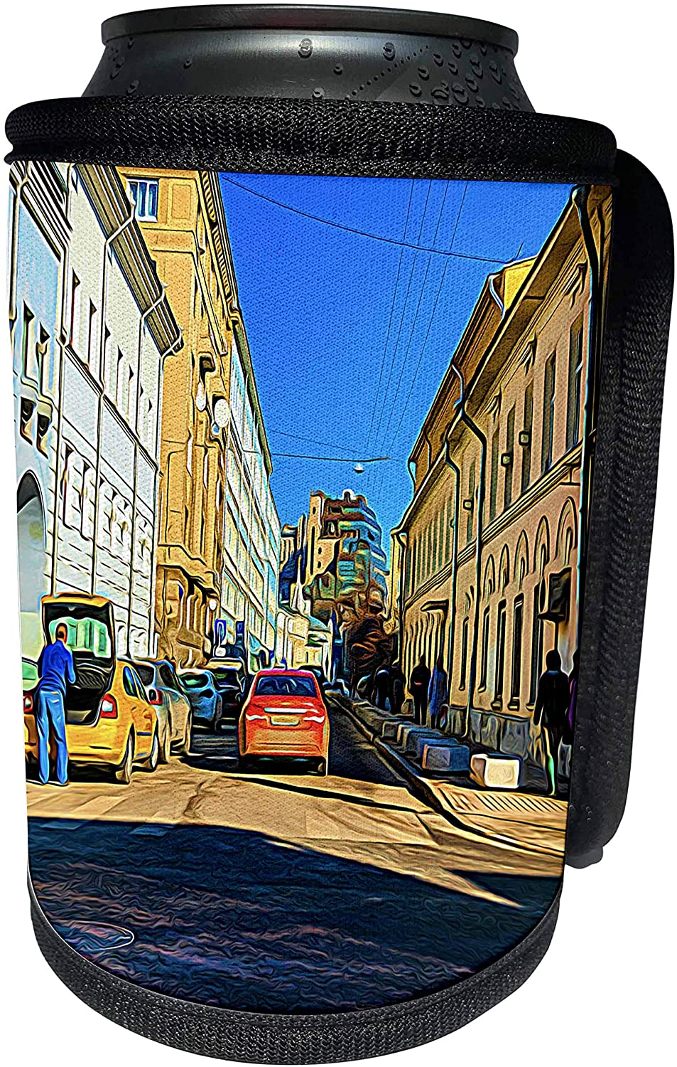 3dRose Alexis Photo-Art - Moscow City - Moscow city art. Colorful street scene on a sunny autumn day - Can Cooler Bottle Wrap (cc_272297_1)