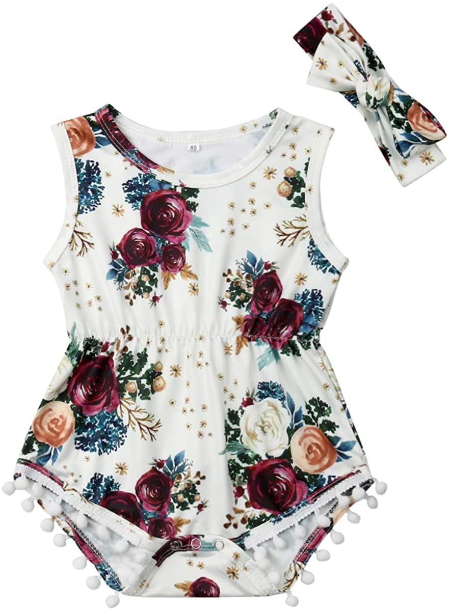 Fashion Newborn Baby Girl Sleeveless Floral Romper Jumpsuit Headband Suit Summer Outfit Clothes