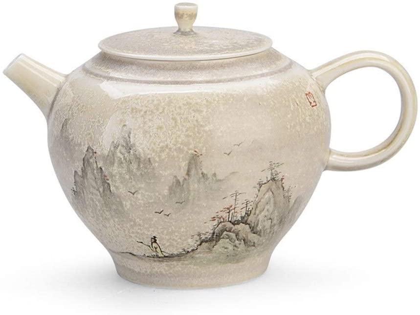 QinMei Zhou Firewood hand-painted ceramic teapot suit household firewood ash firewood teapot kung fu tea pot (Color : Antique pot)