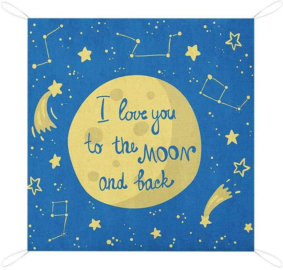 Nomorer I Love You Picnic Blanket Waterproof Backing, Comet Feelings in Shooting Star Space Cosmic Orbit Valentines Concept Custom Picnic Mat, 80 x 57, Yellow Violet Blue