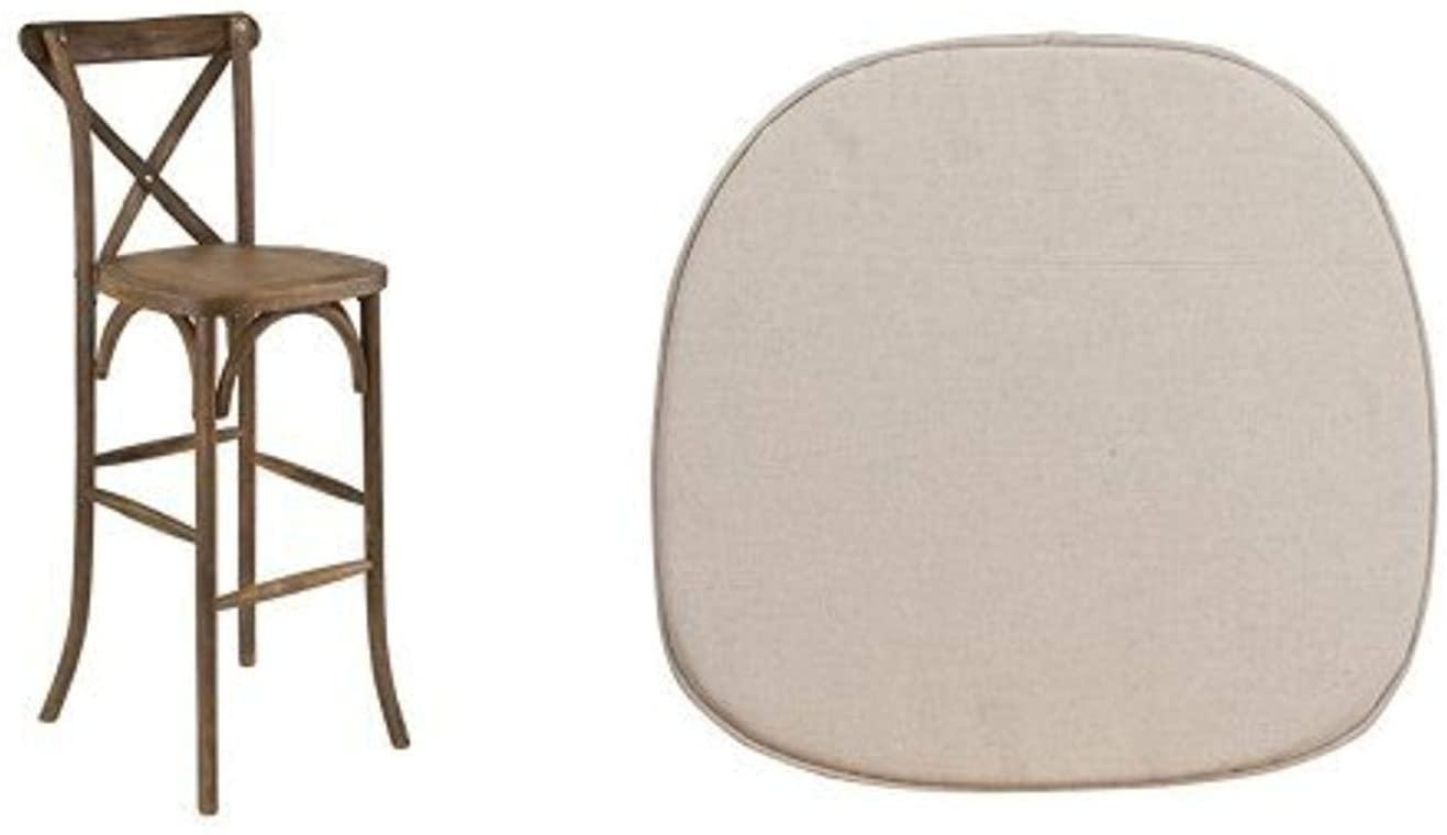 Flash Furniture HERCULES Series Dark Antique Wood Cross Back Barstool with Cushion