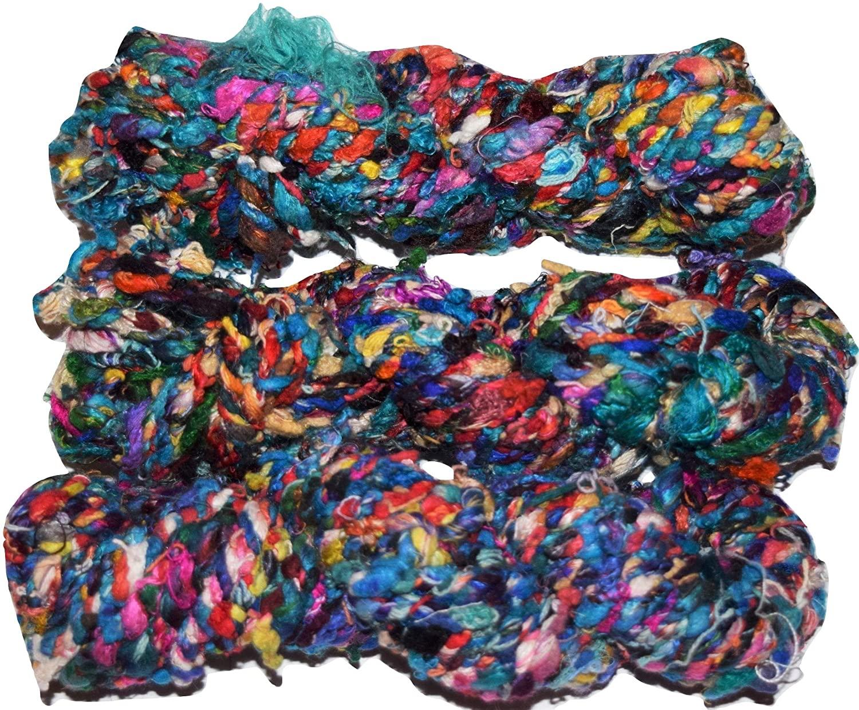 100 gr 100% Silk Fancy Recycled Silk Yarn Silk Cord Aqua