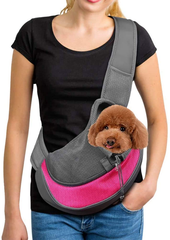 Feadem Pet Carrier, Cat Hand Free Sling Carry Puppy Dogs Cat Papoose Carrier Adjustable Padded Shoulder Strap Tote Bag with Breathable Mesh Pouch for Outdoor Travel Walking Subway