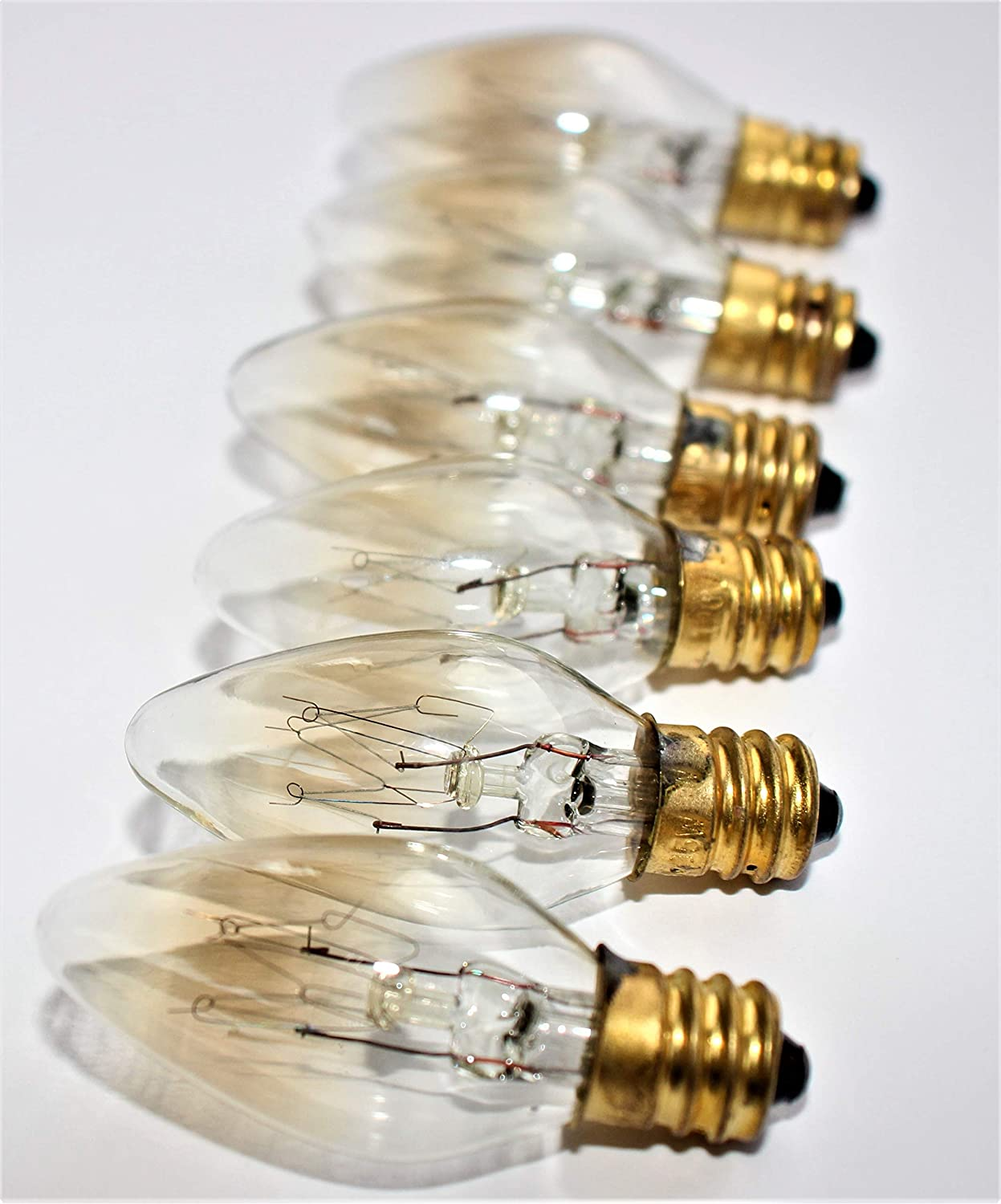 Mini 110v 15w Light Bulbs, Best Replacement for Himalayan Salt lamp, Lava lamp, Decorative lamp, Christmas Light. Incandescent, E12 Socket, Candle Shape, Clear Glass, Set of 6. for Your Home.