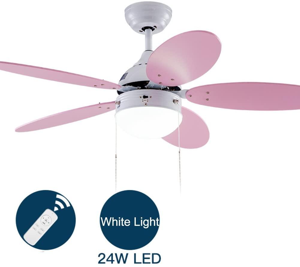 Simple Modern Ceiling Fan with Led Bowl Light,5-Blade Low-Profile Electric Fan for Bedroom Restaurant Kids Room Summer Breeze Flush Mount Indoor Chandelier-D