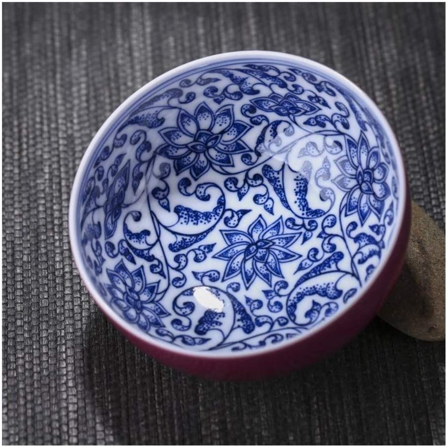 MADONG All hand ceramic single cup of tea cups Carmine handmade blue and white kung fu tea cup (Color : B, Size : 51-100ML)
