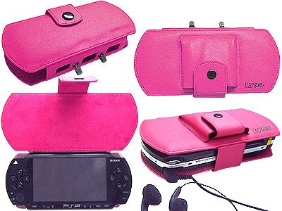 Deluxe PSP Leather Carrying Case for Sony PSP - Pink