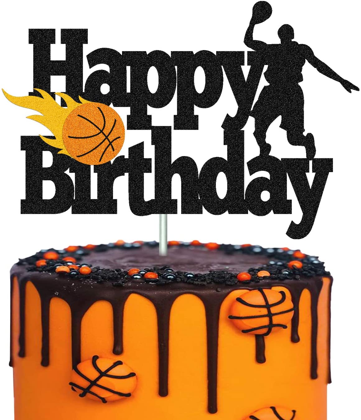 Basketball Cake Topper Happy Birthday Sign Basketball Player Scene Themed for Man Boy Birthday Party Supplies Double Sided Black Sparkle Decorations