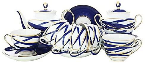 Lomonosov Porcelain Tea Set 6/20 Spring Cocoon: Tea Pot, Sugar Bowl, 6 Cups, Saucers and Cake Plates