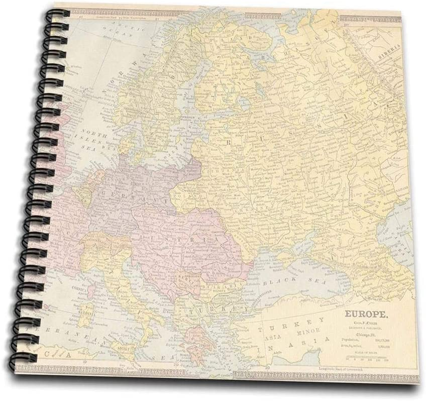 3dRose Vintage Europe Map-Memory Book, 12-inch (db_178860_2)