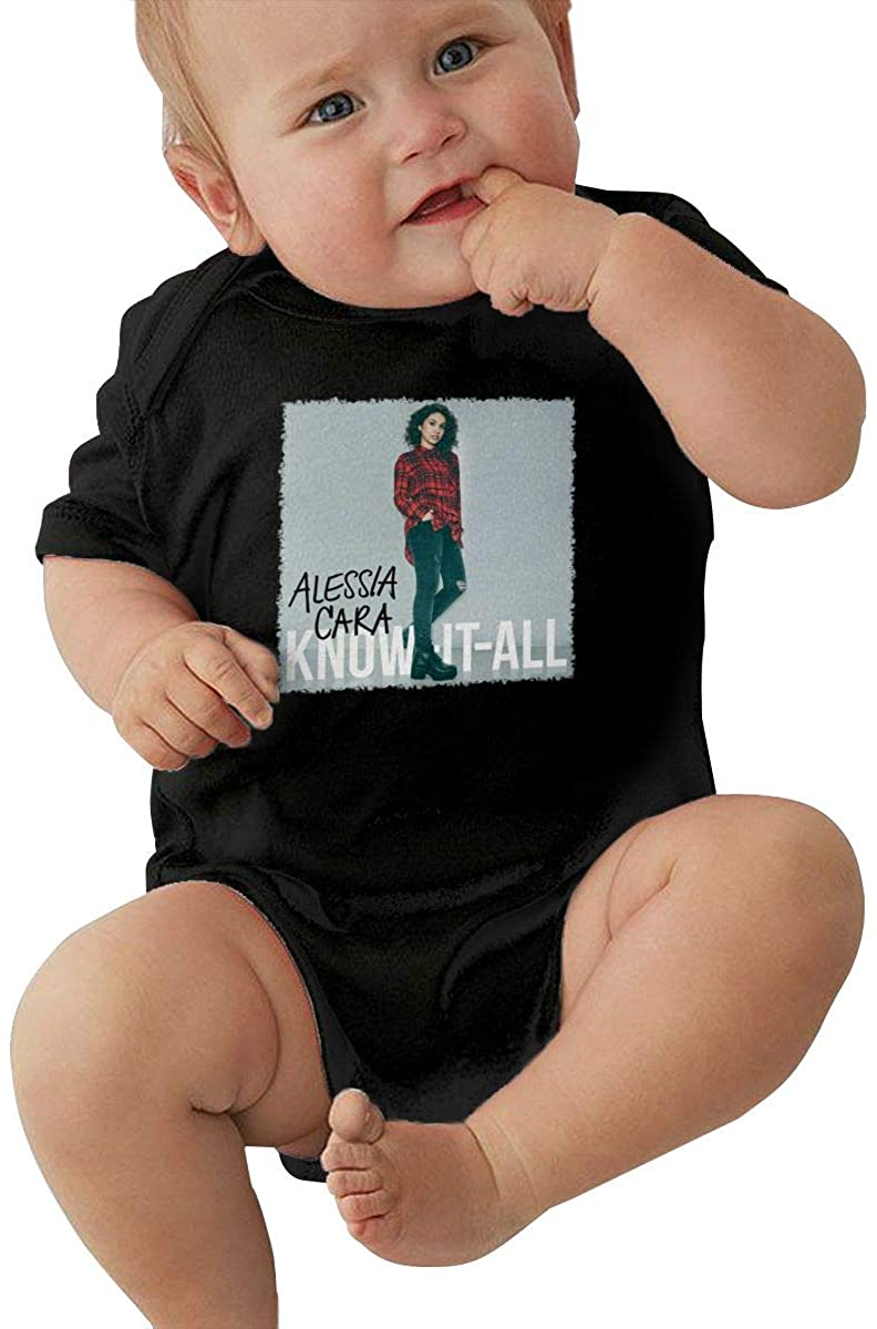 MaMing Alessia Cara Know-It-All Unisex Baby Leotard Cute Short Sleeve T-Shirt Black