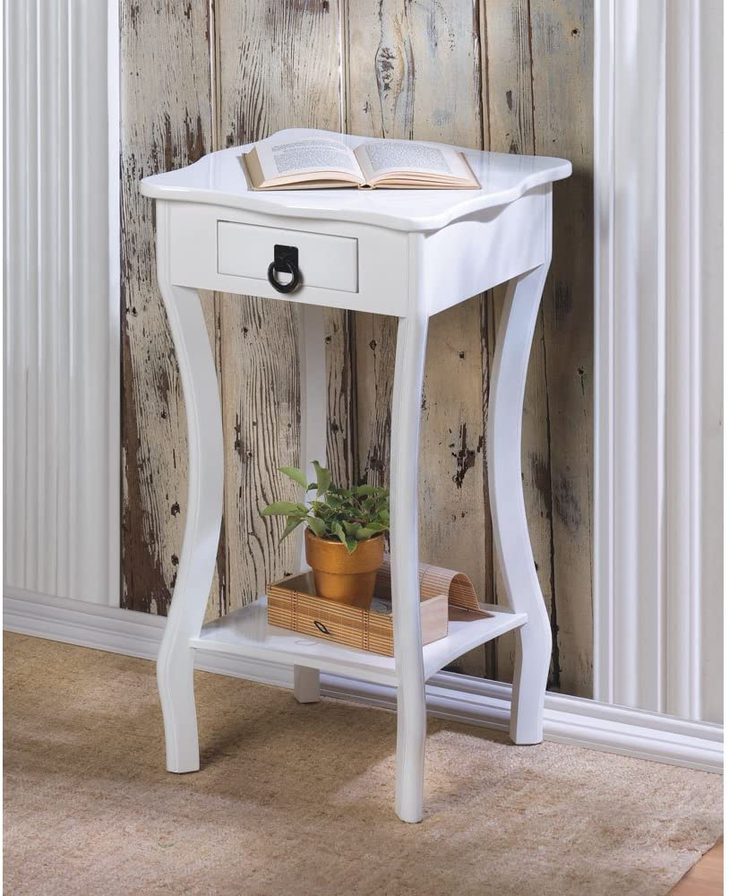 White Accent Table Drawer Shelf Cabriole Curved Legs Scalloped Edge Table Top