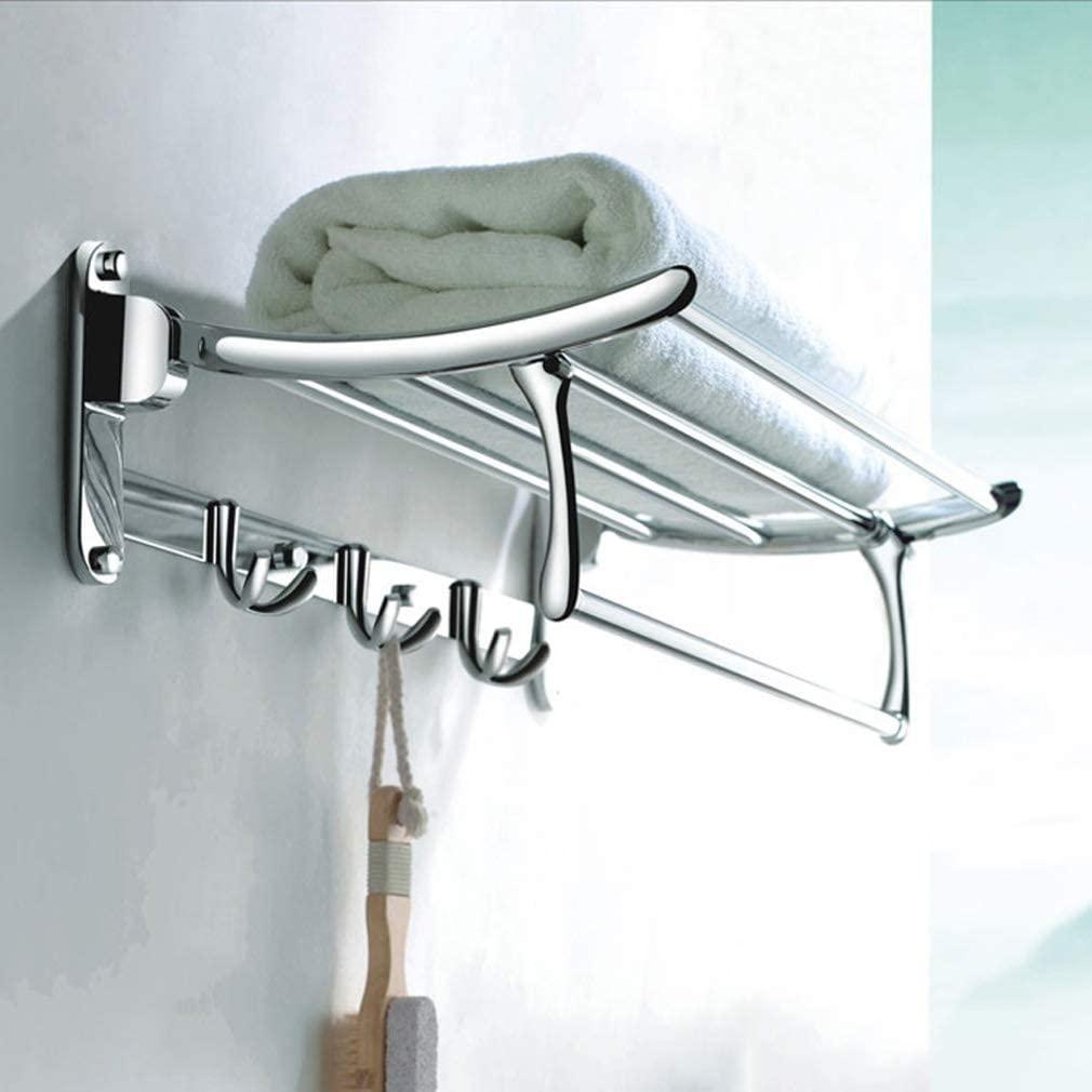 Foldable Thicken Chrome Towel Rack, Stainless Steel Bathroom Shelf with Shelf Shelf Rack Bathroom Accessorie Modern Style-Silver 60cm(24inch)