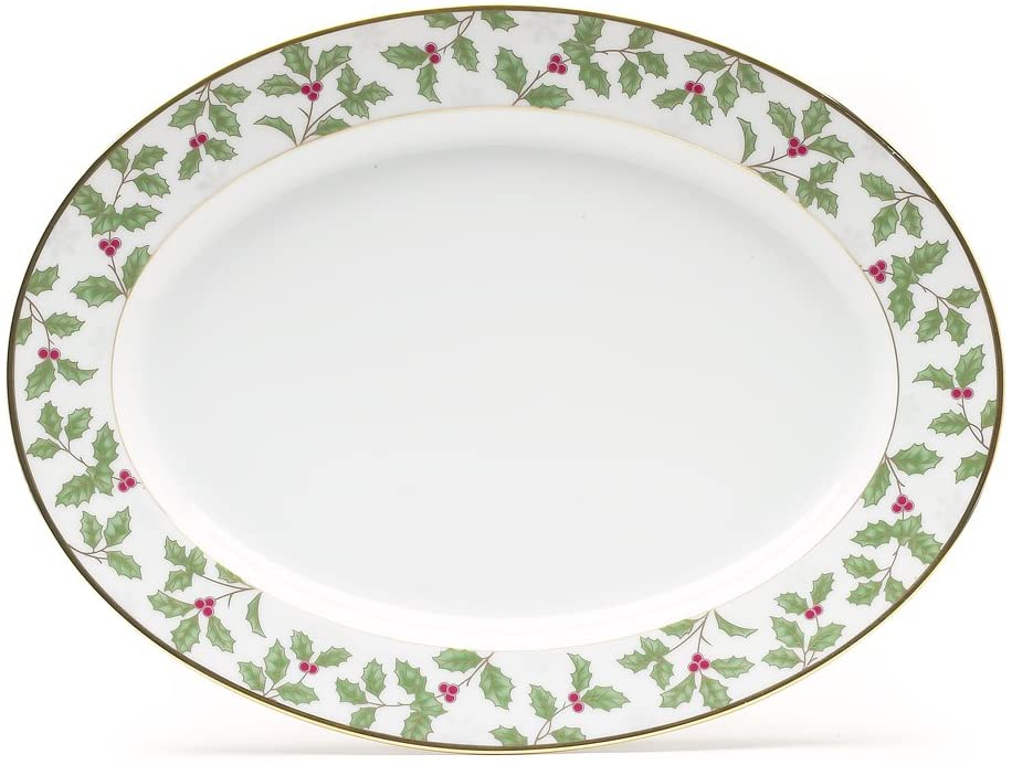 Noritake Holly & Berry Gold Oval Platter, 14-inches