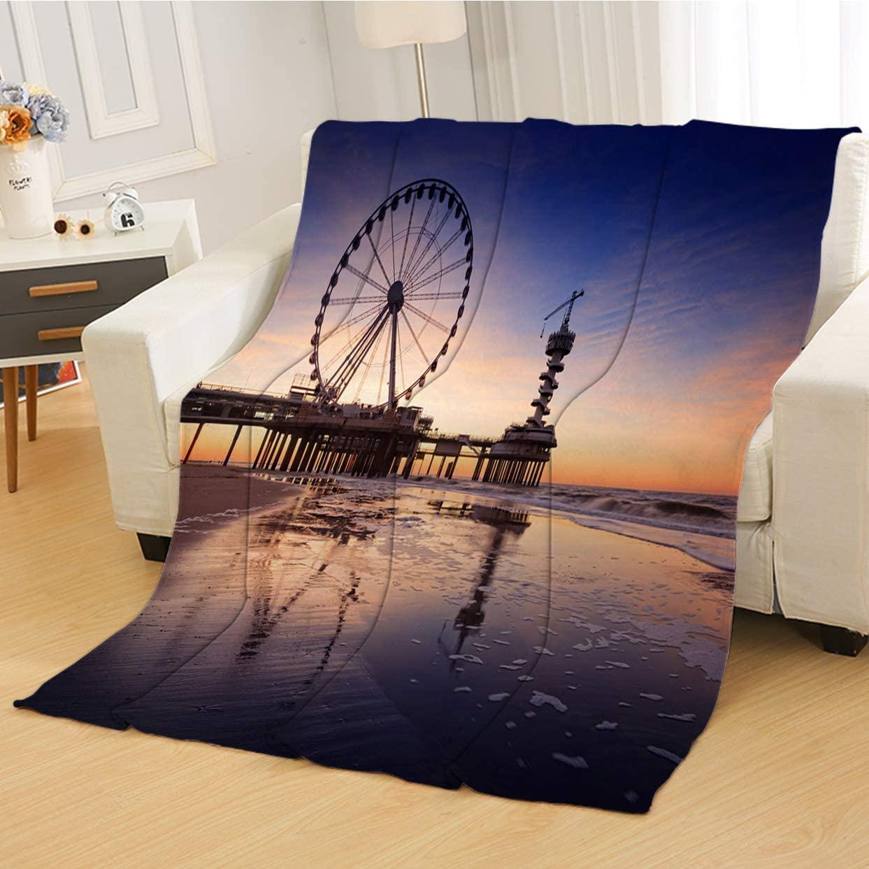 RLDSESS Soft Baby Blanket, All Season Blanket,Ferris Wheel On The Pier at Scheveningen,Soft Weighted Blanket,Baby Size: 31Wx47L inch