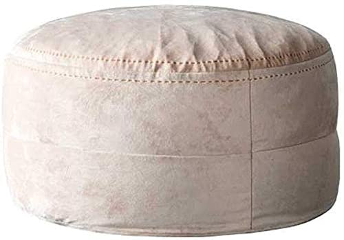HOMRanger Creative Low Stool Home Fabric Lazy Couch Bean Bag Footstool Premium Velvet Fabric Comfortable Soft for Living Room Or Bedroom Max Load 100KG / Light Pink (65cmx32cm)