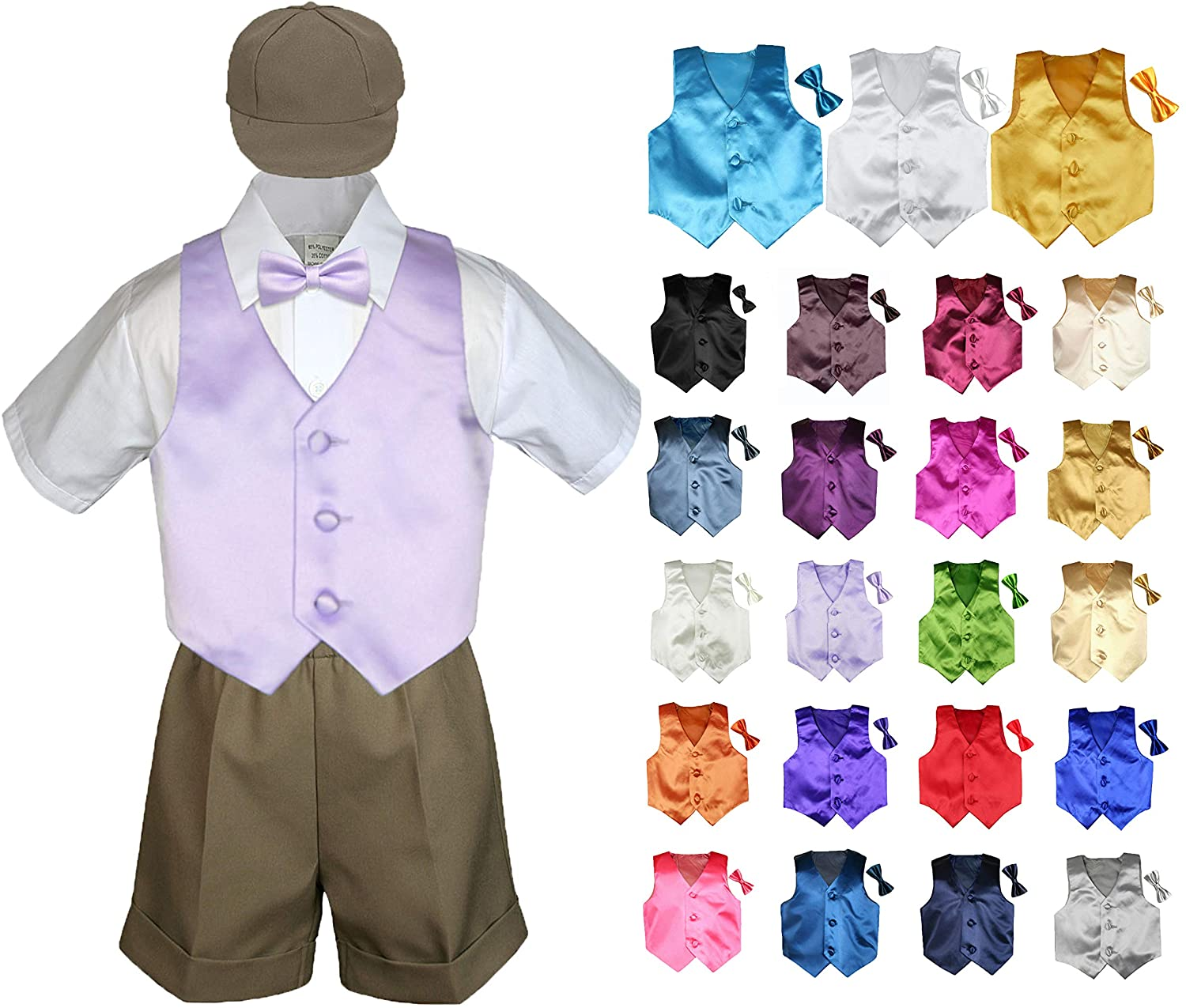 MILLTEX 5 Pieces Formal Wedding Color Satin Vest & Bow tie Shirt W/Hat Taupe Shorts Set Baby Boy Toddler Sm-4T (2T, Brown)