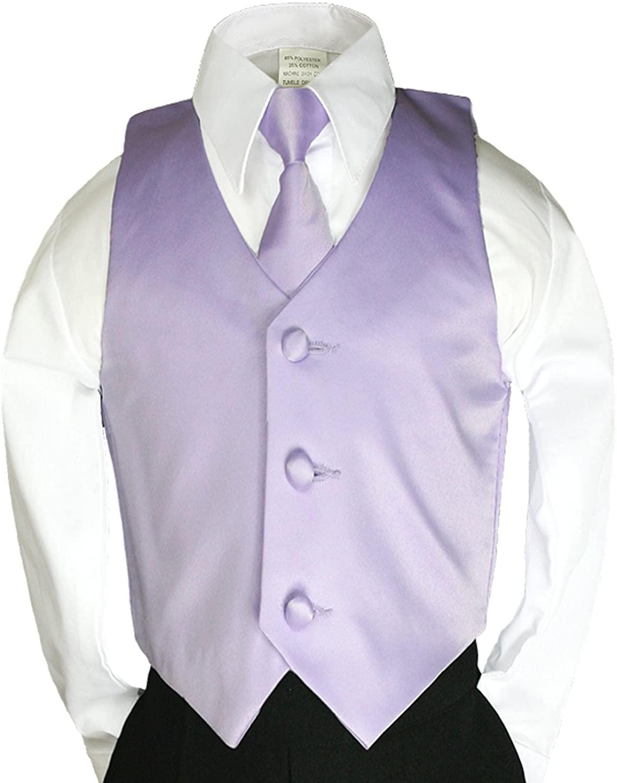 Unbranded 2pc Lilac Purple Necktie Vest Set Boy Wedding Graduation Party Formal Suit Sm-20