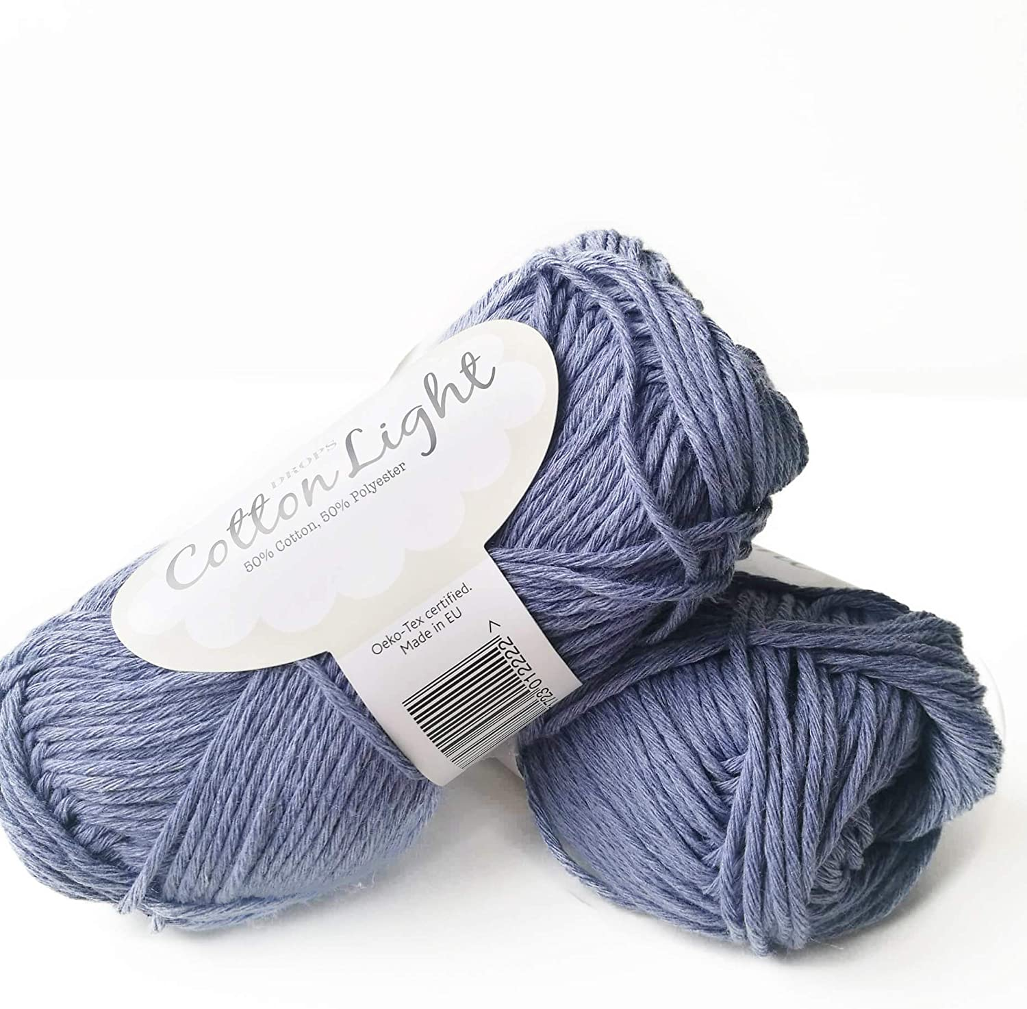 Cotton Blend Yarn for Knitting and Crocheting, 4 or Medium, Worsted, DK Weight, Drops Cotton Light, 1.8 oz 115 Yards per Ball (34 Light Jeans Blue)
