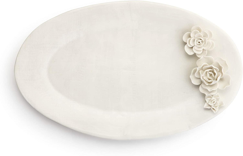 Succulent Textured Glossy White 17 x 11 Ceramic Stoneware Serving Platter
