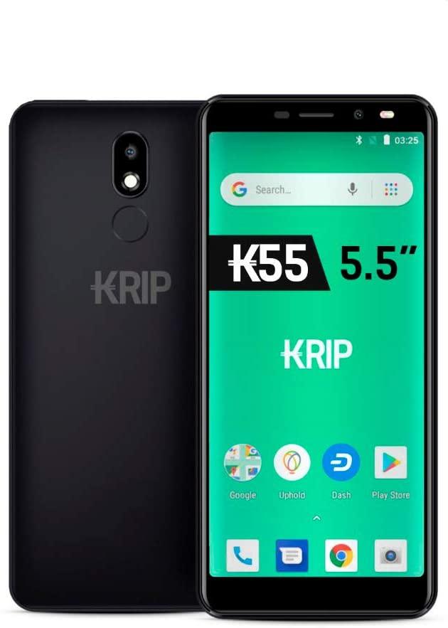 Krip K55 5.5'' 3G, Android 8.1 Oreo( Go Edition), 2Gb Ram,16Gb Rom, Dual Camera, Dash Wallet + Dash Digital Cash included Smartphone Black