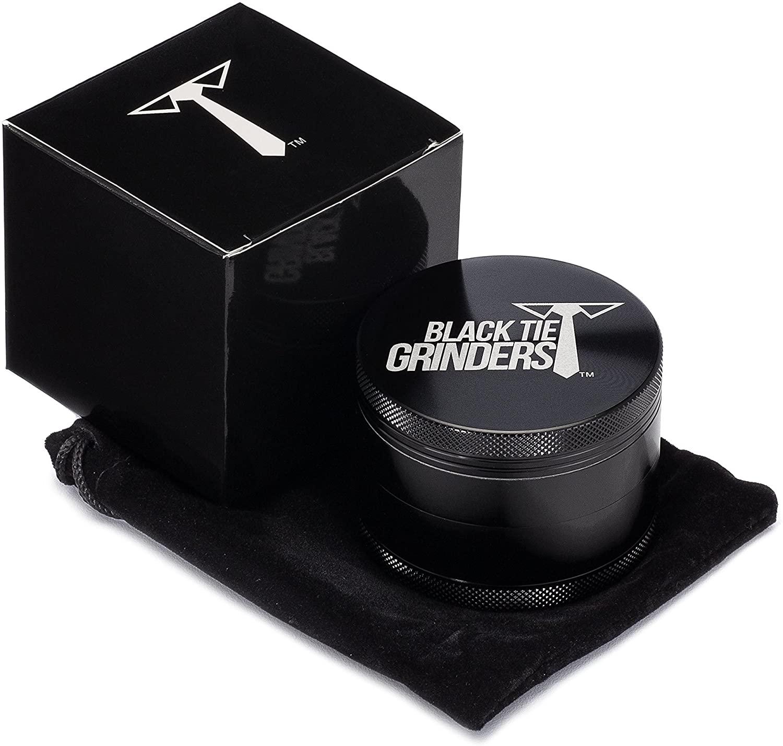 Black Tie Grinders - Next Level - Best Rated Herb Grinder, 2.5 Inch, 4 Piece, Aluminum (Black)