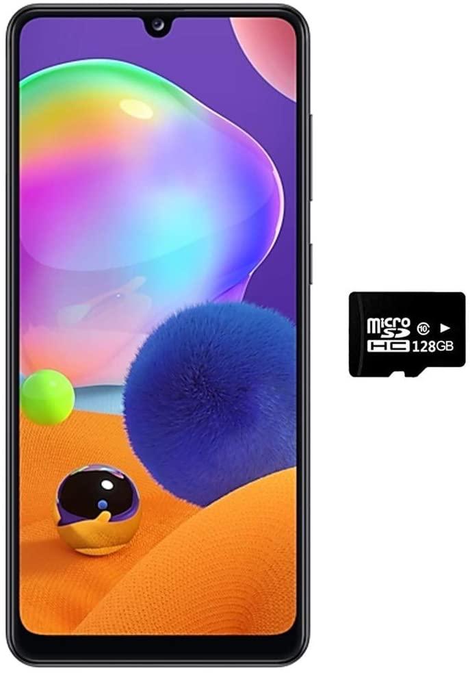 Samsung Galaxy A31 (128GB, 4GB) 6.4 FHD+, Quad Camera, 5000mAh Battery, Dual SIM GSM Unlocked US + Global 4G LTE International Model - A315G/DSL (Prism Crush Black, 128GB + 128GB SD + Case Bundle)